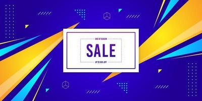 banner di vendita di fine stagione geometrico blu e giallo vettore