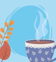 composizione tempo caffè con tazza e foglie