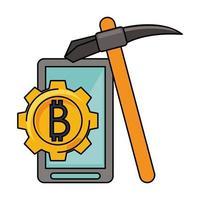 simbolo di denaro digitale di criptovaluta bitcoin vettore