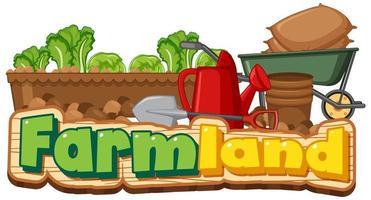 terreno agricolo o banner con attrezzi da giardinaggio