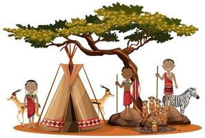 famiglia di tribù africane vettore