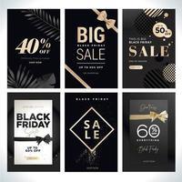 set di modelli di vendita black friday nero e oro vettore