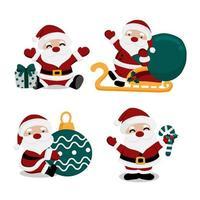 set di immagini di Babbo Natale vettore