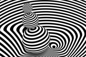 distorsione della linea 3d in bianco e nero, illusione della palla