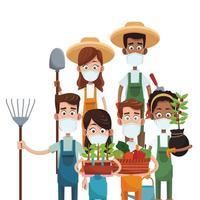 agricoltori che indossano maschere mediche