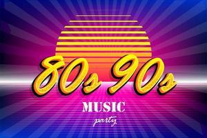 modello di poster festa al tramonto al neon anni '80 retrò anni '90 vettore