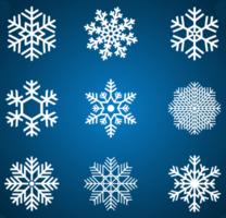 fiocco di neve bianco impostato su gradiente blu vettore