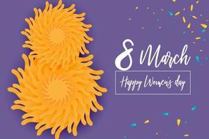 8 marzo poster della giornata della donna con fiori su viola vettore