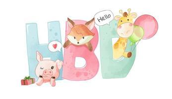 hbd colorato per buon compleanno con simpatici animali vettore