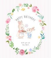 coniglio madre e figlio in carta di compleanno cornice fiori vettore