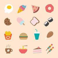 set di icone di stile cartone animato piatto a colori di cibo