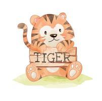 carino tigre con cartello in legno vettore