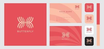 modello di biglietto da visita minimalista farfalla vettore