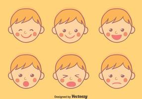 Vettore di espressione di faccia del bambino disegnato a mano