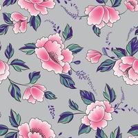 fiore rosa con foglie verdi e viola senza cuciture