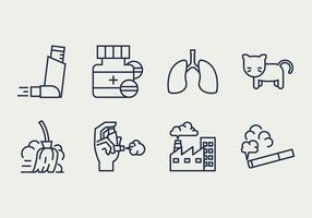 Icone di sintomi e cause di asma vettore