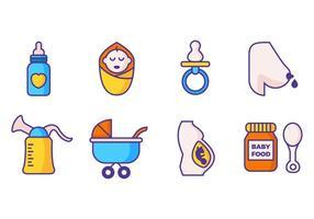 Vettore di stile linea maternità icone gratis