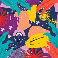 foglie colorate e fiori sfondo poster vettore