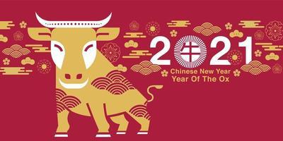 capodanno cinese 2021 anno del disegno del bue vettore