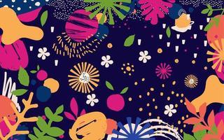 foglie e fiori colorati vettore