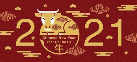 capodanno cinese 2021 design bue d'oro vettore