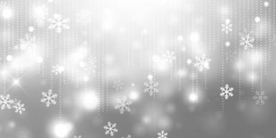 banner di Natale argento con fiocchi di neve vettore