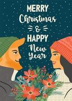 biglietto di auguri di Natale e felice anno nuovo vettore