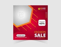 modello di post sui social media di vendita di moda rossa vettore