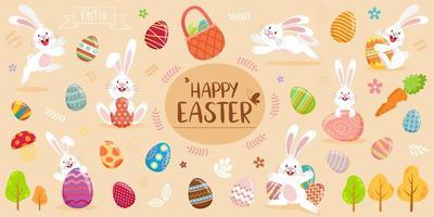 banner di buona pasqua con conigli, uova e fogliame