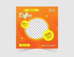 modello di post sui social media del ristorante caffè arancione vettore