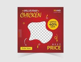 modello di post sui social media del ristorante di pollo vettore