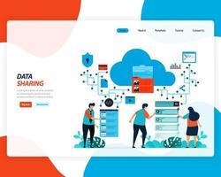 tecnologia di condivisione dati cloud, lavoratori remoti vettore