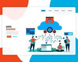 design piatto 4.0 concetto di tecnologia di condivisione dei dati vettore