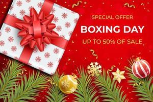design realistico di vendita di boxe day con regalo vettore