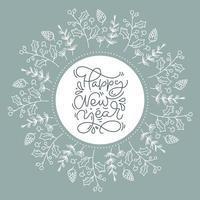 ghirlanda floreale contenente cornice circolare con testo di felice anno nuovo
