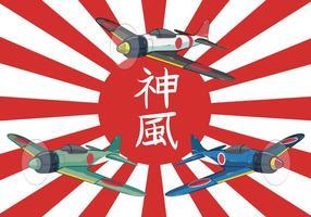 Illustrazione piana di vettore della seconda guerra mondiale di Kamikaze
