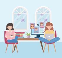 ragazze a casa in una riunione online