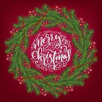 ghirlanda di Natale con bacche rosse su rami sempreverdi