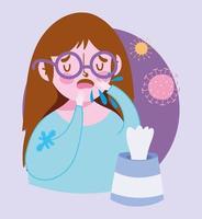 ragazza malata con tosse infezione virale vettore