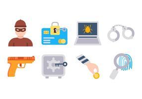 Vettore libero delle icone di ladro e del furto
