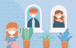 ragazza che innaffia piante e amici alla finestra