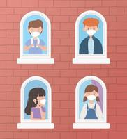 giovani che indossano maschere alla finestra vettore