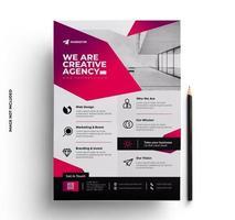 progettazione del layout volantino aziendale rosa rosso aziendale vettore