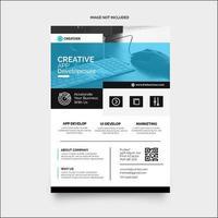 modello di layout design flyer blu, bianco e nero vettore