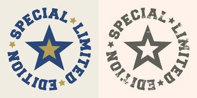 timbro speciale in edizione limitata con stella per t-shirt vettore