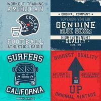 set di stampe di design vintage per t-shirt