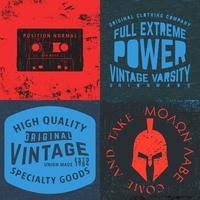 set di stampe di design vintage per t-shirt vettore