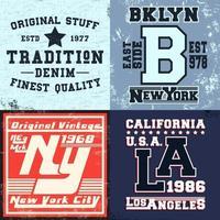 set di stampe di design vintage per t-shirt set di stampe di design vintage per t-shirt, applicazioni per magliette, tipografia di moda, badge, etichette di abbigliamento, jeans e abbigliamento casual. illustrazione vettoriale