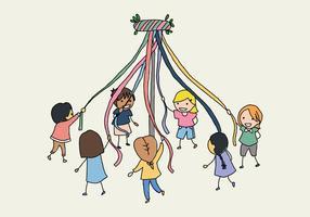 Bambini con un albero di maggio vettore