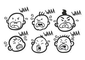 Set da bambino che piange disegnato a mano vettore